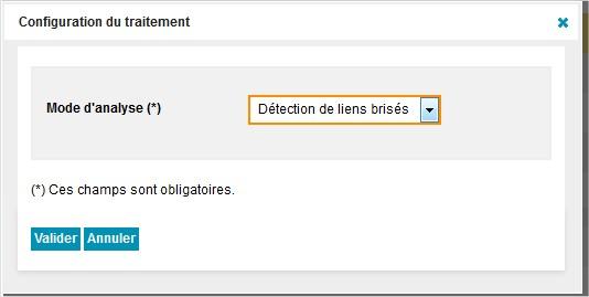 configuration du script d'analyse de contenu