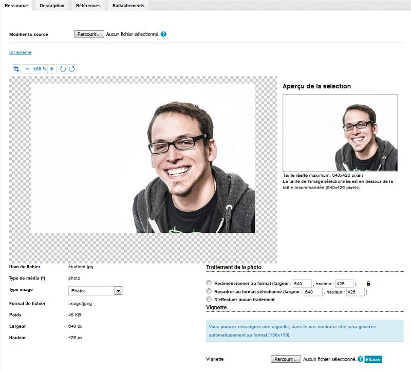 Modification d'une image depuis l'onglet références