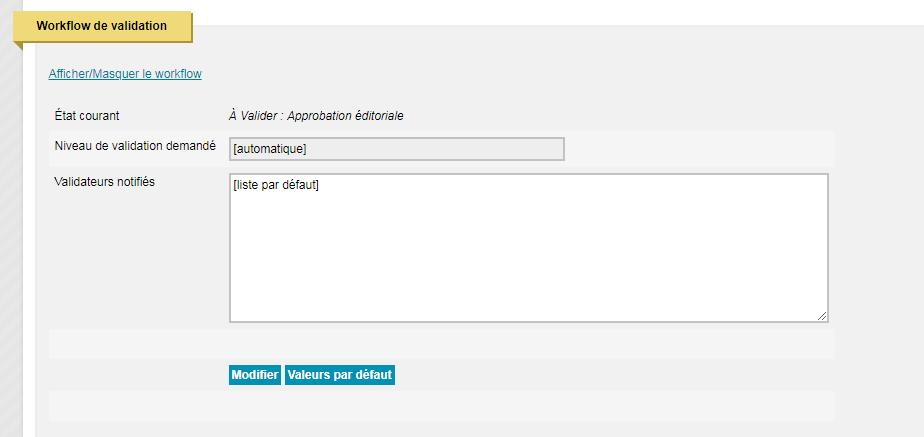 Modification du workflow de validation