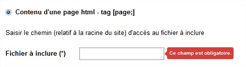 tag insertion d'une page HTML