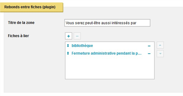 Plugin rebonds entre fiches