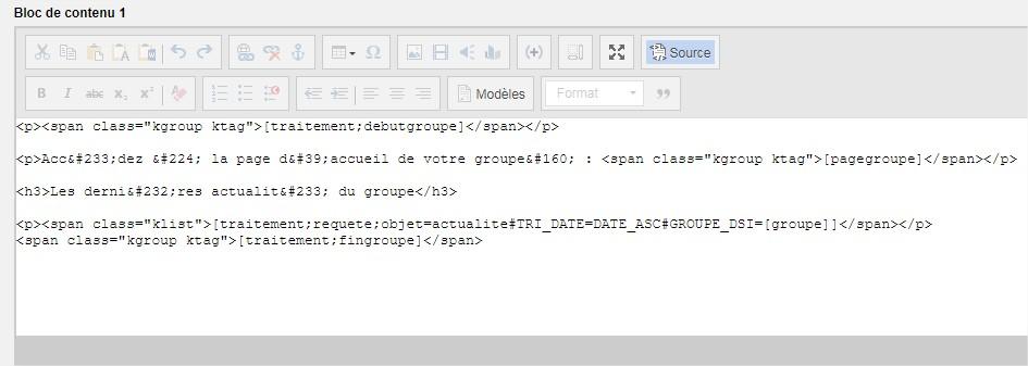 tags de groupe dans l'editeur en mode source