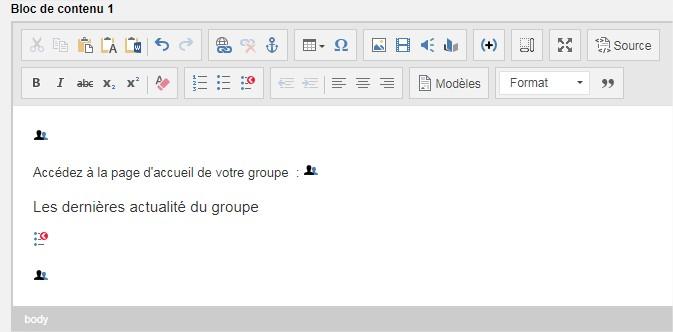 tags de groupe dans l'editeur de contenu